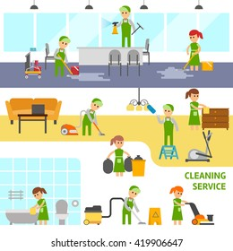 Cleaning service infographic elements. Cleaning office, home and bathroom. Cleaners vector flat illustration.People wash the floor, wipe the dust