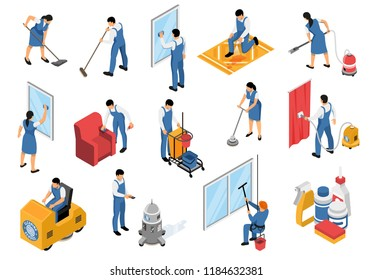 Cleaning service isometric icons set with professional industrial vacuuming furniture carpets refreshing stain removing isolated vector illustration
