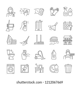 Cleaning service linear icons set. Cleaning products. Napkins, sponge, broom, mop. Window, tile, floor, bathroom, kitchen cleaner. Housekeeping. Isolated vector outline illustrations. Editable stroke
