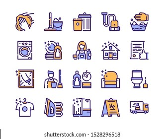 Cleaning service linear icons set. Housekeeping items. Kitchen and bathroom cleaning products isolated outline symbols. Laundry, dishwashing. Household chores. Housework color thin line illustrations