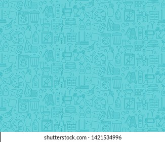 Cleaning service linear icons vector seamless pattern. Household background. Housekeeping line items blue texture. Cleaning housework products. Wallpaper, textile design