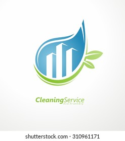 Cleaning service logo design idea. Water drop with buildings in negative space. Creative Eco symbol template. Icon layout with green leaves.