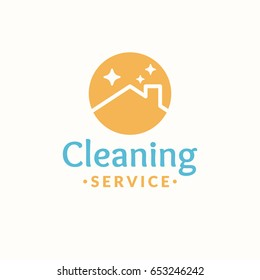 Cleaning service logo. Roof of the house in the orange circle. Vector illustration.