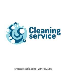 Cleaning service logo. Soap foam bubbles.