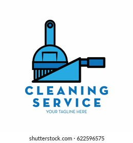 cleaning service logo with text space for your slogan / tagline, vector illustration