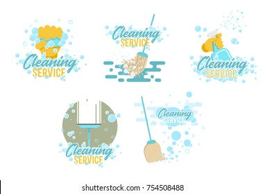 Cleaning service logos and symbols templates on white background