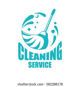 Cleaning service logotype with broom. Vector icon isolated on white background.