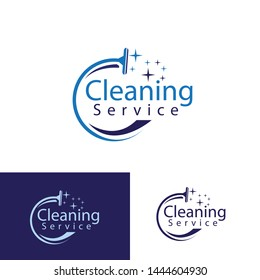 cleaning service logotype. concept of squeegee, purification, wet cleaning, mop, cleanup badge, sweeping. isolated on white background