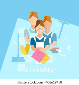 Cleaning service maid house cleaning cleaners team