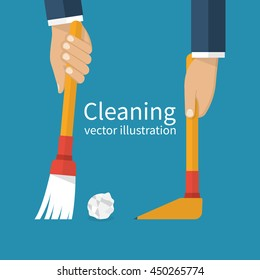 Cleaning service. Man holding in hand a broom sweeping garbage, collecting in the dustpan. Vector illustration flat design. Brush and scoop.