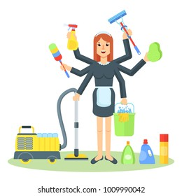 Cleaning service. Multitask maid with tools for cleanliness. Flat vector cartoon illustration. Objects isolated on white background.