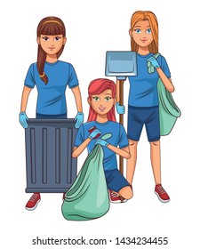 cleaning service person woman with braid holding a trash can, woman putting a can into a garbage bag and woman carrying dustpan and garbage bag profile picture avatar cartoon character portrait vector
