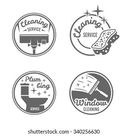 Cleaning service, plumbing service, window cleaning set of four monochrome vintage vector round badges, labels, emblems isolated on white background