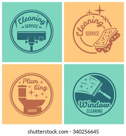 Cleaning service, plumbing service, window cleaning set of four vector round badges, labels, emblems on colored backgrounds