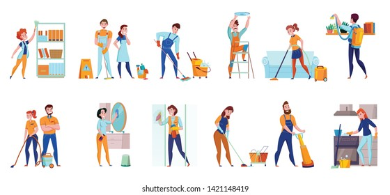 Cleaning service professional duties flat  compositions 2 horizontal sets with floor  sweeping vacuuming mirrors washing vector illustration