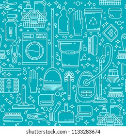 Cleaning service seamless pattern. Template with line icons symbols of house cleaning tools, household equipment. Ideal background for packaging. Clean, minimalistic concept for cleaning company.