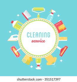 Cleaning Service Sign, Tools and Chemicals Round Background