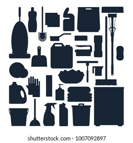 Cleaning service silhouettes. Set house cleaning tools, detergent and disinfectant products, household equipment for washing - flat vector illustration