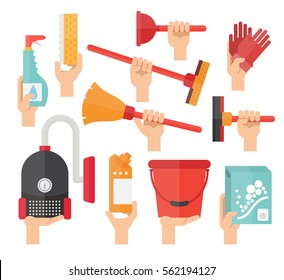 Cleaning service supplies. Hands holding household equipment for clean house. Vector flat set.