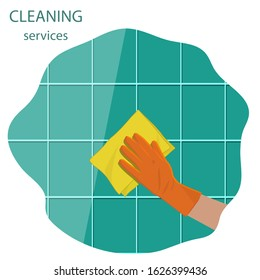 Cleaning service - tiled wall, woven napkin, hand in a rubber glove - abstract icon - vector.