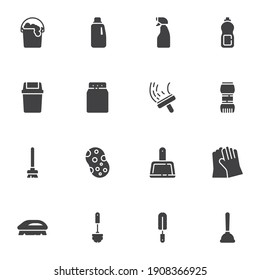 Cleaning service vector icons set, modern solid symbol collection, filled style pictogram pack. Signs, logo illustration. Set includes icons as sponge, laundry, toilet brush, trash bin, detergent