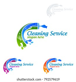 Cleaning Service vector Logo design, Eco Friendly Concept with shiny splash isolated on white Background