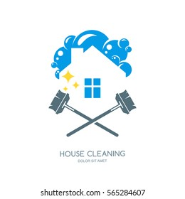 Cleaning service vector logo, emblem or icon design template. Clean house and mops isolated illustration. Home with lather, soap foam and water drops.