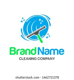 Cleaning Service, Window Cleaning, Car Wash with Squeegee Logo Design