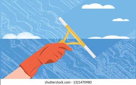 Cleaning service - window, lather, rubber-gloved hand and scraper - flat style - vector