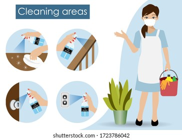 Cleaning service woman holding bucket with infographics of cleaning point areas for 75% alcohol spraying. Idea for hygiene cleaning, COVID-19 corona virus outbreak, awareness and prevention. Vector.