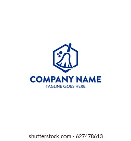 Cleaning Service And Woman Maid Logo
