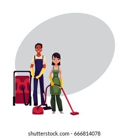 Cleaning service workers in overalls, man and woman, boy and girl, using vacuum cleaners, cartoon vector illustration with space for text. Cleaning service workers vacuum cleaning the floor