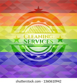 Cleaning Services emblem on mosaic background with the colors of the LGBT flag