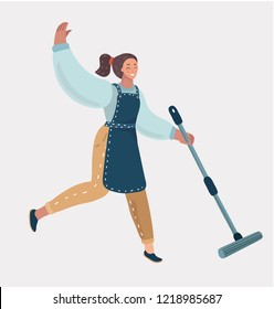 Cleaning services. The female cleaner with a mop. Cleaning homes and offices. Cheerful cleaning lady will purify all. Woman in apron. Vector cartoon illustration in modern concept