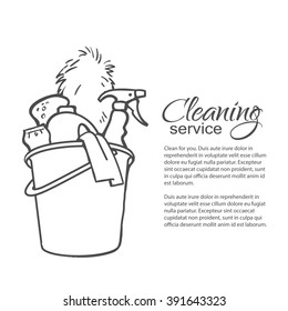 Cleaning services. Hand drawn spray and dust collector, rag, sponge. Cleaning homes and offices. Bucket with cleaning cleaners. Black and white painted bucket. Easy cleaning. Vector illustration