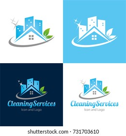 Cleaning Services Icon and Logo - Vector Illustration