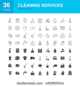 Cleaning Services Line Web Glyph Icons. Vector Illustration of Outline and Solid Symbols.