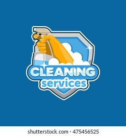 Cleaning services logo vector, emblem, badge