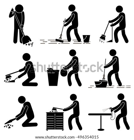 Cleaning Services Man Person Cleaning Sweeping Stock