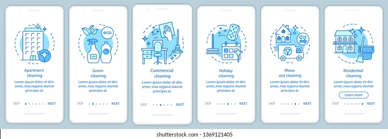 Cleaning services onboarding mobile app page screen, linear concepts. Six walkthrough steps graphic instructions. Holiday, green, move out cleanup. UX, UI, GUI vector template with illustrations