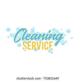 Cleaning servise logo, symbol or badge template with foam bubbles. Vector illustration