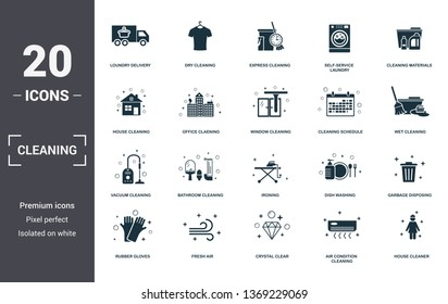 Cleaning set icons collection. Includes simple elements such as Loundry Delivery, Dry Cleaning, Express, Self-Service Laundry, Cleaning Materials, Bathroom Cleaning and Ironing premium icons.