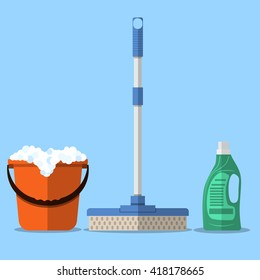 Cleaning set. MOP, red plastic bucket with foam, cleaning products in bottle for floor. vector illustration in flat design on blue background