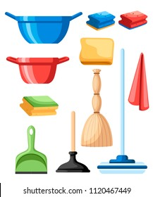 Cleaning set objects. Plastic dustpan and bowl. Mop, suction cup and rags. Flat design style. Vector illustration isolated on white background.