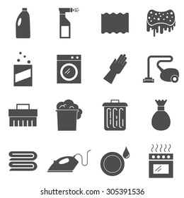 Cleaning silhouettes vector icons set