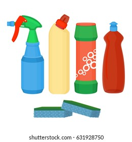 Cleaning spray, chemical washing liquid, detergent powder, bleach bottle vector