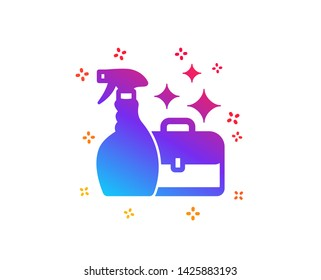 Cleaning spray icon. Washing liquid or Cleanser symbol. Housekeeping service sign. Dynamic shapes. Gradient design cleanser spray icon. Classic style. Vector