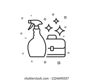 Cleaning spray line icon. Washing liquid or Cleanser symbol. Housekeeping service sign. Geometric shapes. Random cross elements. Linear Cleanser spray icon design. Vector