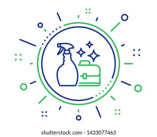 Cleaning spray line icon. Washing liquid or Cleanser symbol. Housekeeping service sign. Quality design elements. Technology cleanser spray button. Editable stroke. Vector