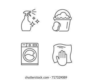 Cleaning spray, Washing machine and Housekeeping service line icons. Laundry, Sponge and Bucket signs. Maid equipment and Wipe with hand symbols. Quality design element. Editable stroke. Vector